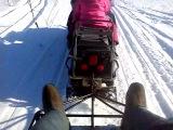 Вика с подругой едут на снегоходе и везут папу в прицепе.